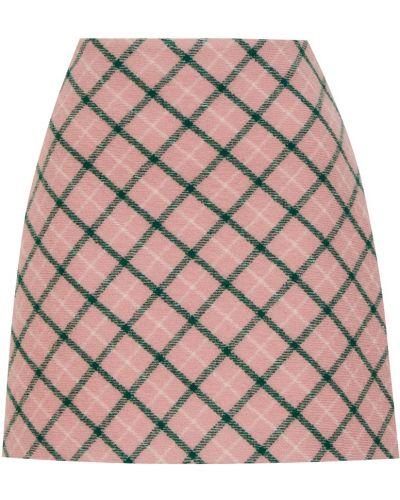 Хлопковая розовая юбка мини трапеция Miu Miu