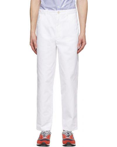 Białe spodnie bawełniane z paskiem Comme Des Garcons Shirt