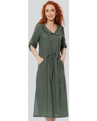 Льняное платье бохо с разрезами по бокам с принтом D`imma Fashion Studio