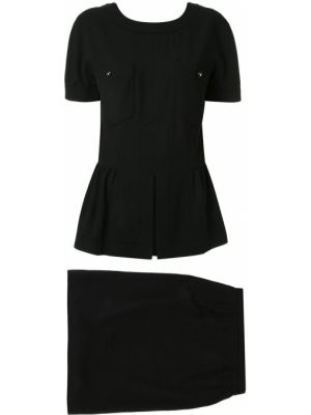 Юбка мини с оборками с разрезом с поясом винтажная Chanel Pre-owned