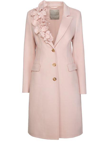 Шерстяное розовое пальто с воротником с карманами Ermanno Scervino