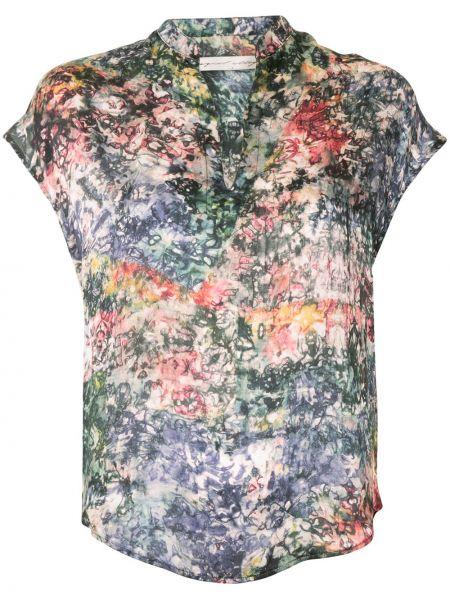Шелковая блузка с V-образным вырезом с короткими рукавами Raquel Allegra