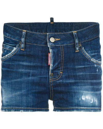 Синие хлопковые джинсовые шорты Dsquared2