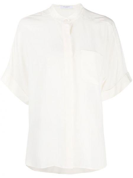 Шелковая с рукавами белая рубашка Equipment