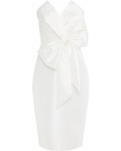 Белое платье без бретелек на крючках Badgley Mischka