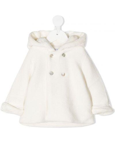 Кашемировое вязаное белое пальто с капюшоном с опушкой Tartine Et Chocolat