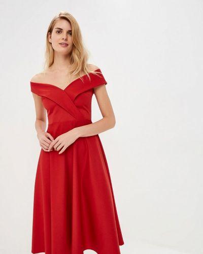 Платье с открытыми плечами красный Anrostore