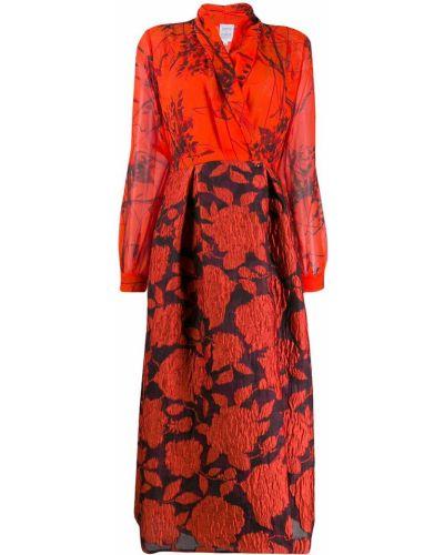 Плиссированное фиолетовое приталенное платье миди на молнии Sara Roka