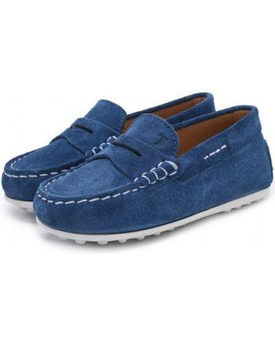 Мокасины замшевые синие Tods