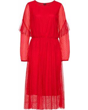 Платье с поясом в горошек красный Bonprix