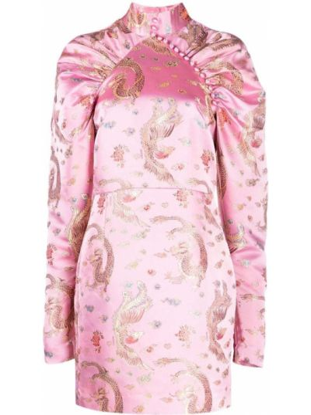 Różowa sukienka z printem Rotate