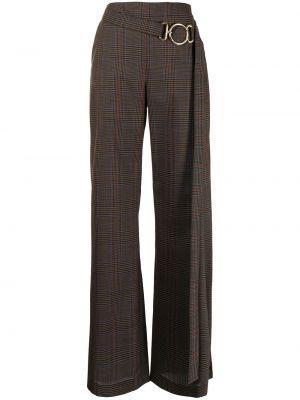Шерстяные коричневые брюки в клетку Monse