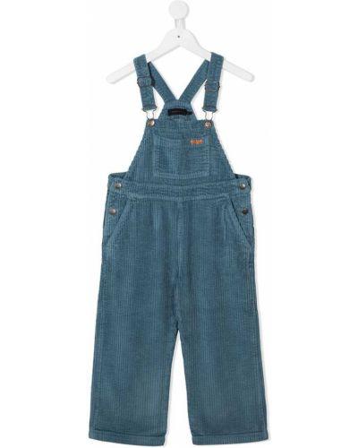 Синий комбинезон с вышивкой с карманами на бретелях Tiny Cottons