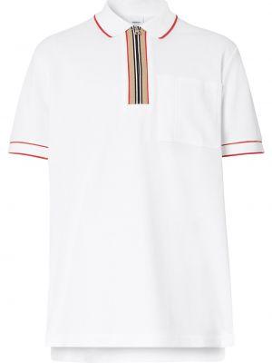 Biały klasyczna koszula z kołnierzem z kieszeniami z łatami Burberry
