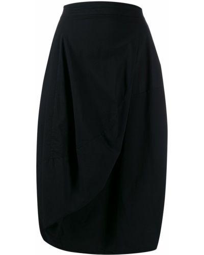 Черная асимметричная юбка миди в рубчик с драпировкой Rundholz Black Label