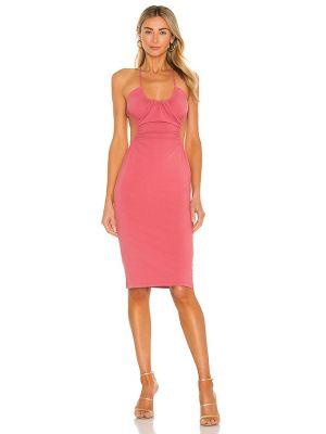 Розовое текстильное платье миди с оборками Michael Costello