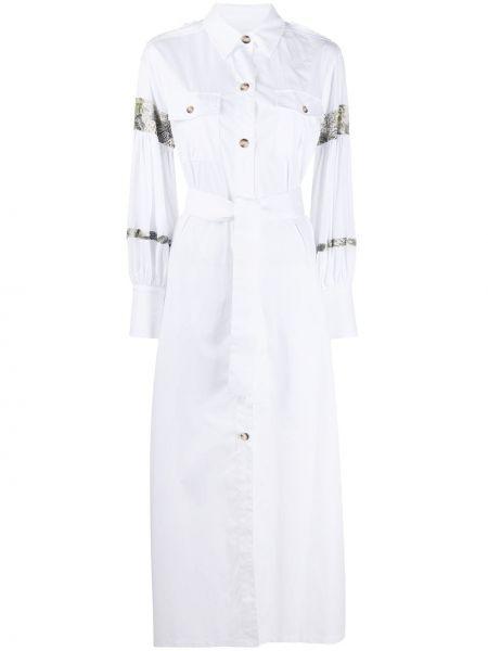 С рукавами белое платье макси с воротником Ava Adore