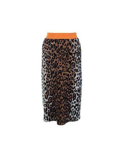 Шерстяная юбка миди - коричневая Stella Mccartney