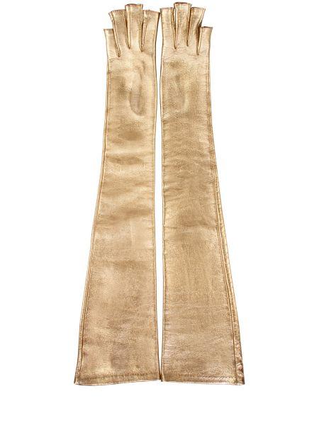 Кожаные золотистые желтые перчатки длинные Gucci