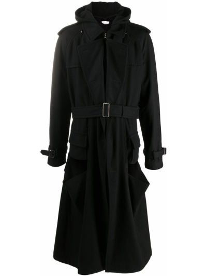 Черный плащ классический с капюшоном на молнии Comme Des GarÇons Homme Plus