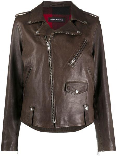 Коричневая кожаная куртка байкерская Department 5