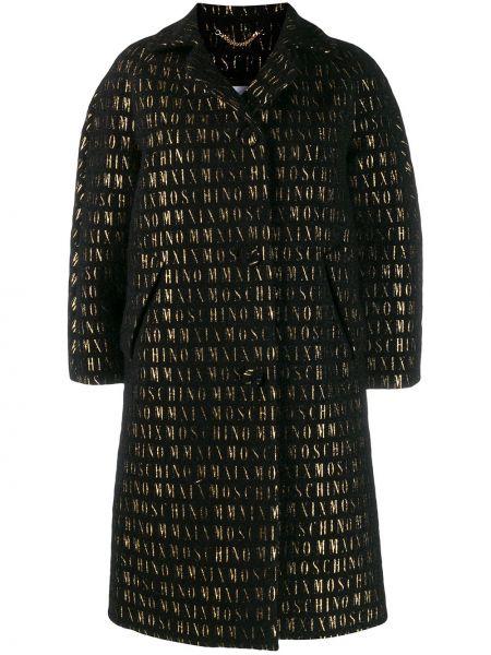 Шерстяное черное пальто классическое с воротником Moschino