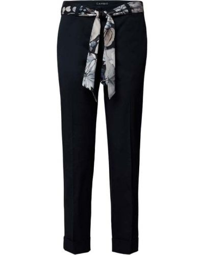 Niebieskie spodnie materiałowe z paskiem Cambio