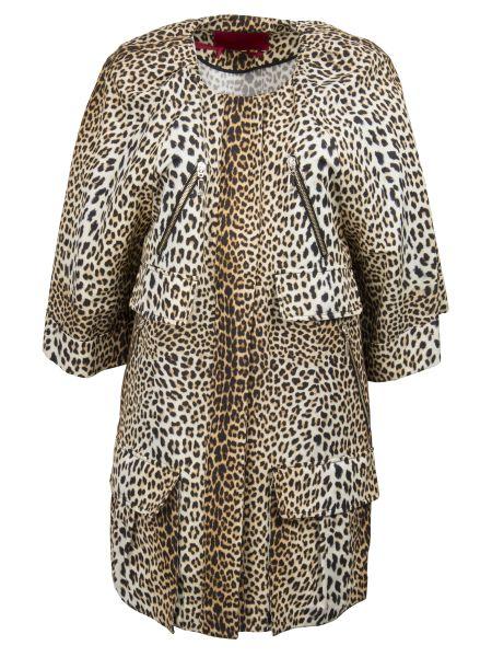 Бежевая куртка на молнии круглая с вырезом Moncler Gamme Rouge