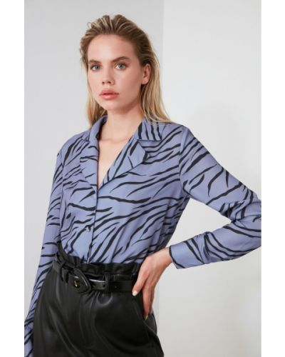 Fioletowa koszula z długimi rękawami zapinane na guziki Trendyol