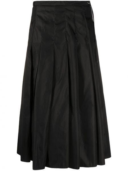С кулиской черная юбка миди в рубчик Moncler