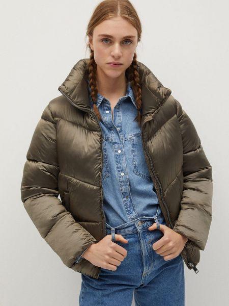 Серая стеганая куртка с воротником Mango