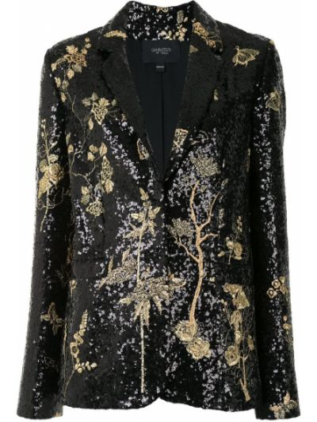 Черный удлиненный пиджак с карманами с пайетками Giambattista Valli