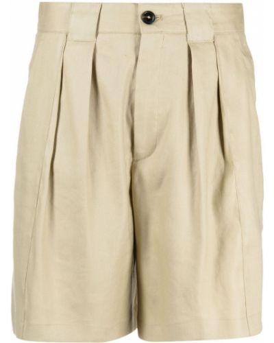 Бежевые льняные шорты с карманами Closed