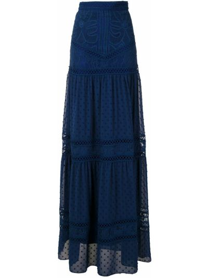 Синяя с завышенной талией юбка макси на молнии со складками Martha Medeiros