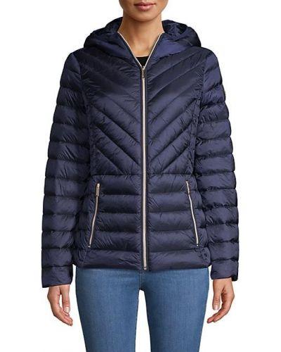 Черная пуховая длинная куртка с капюшоном Michael Michael Kors
