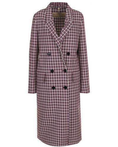 Двубортное пальто в клетку прямое Burberry