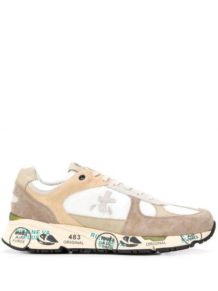 Кожаные кроссовки с заплатками на шнуровке на плоской подошве Premiata