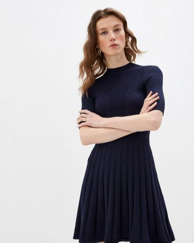 Трикотажное синее вязаное платье Ted Baker London