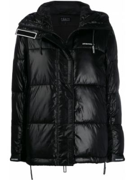 Куртка с капюшоном черная на молнии Emporio Armani