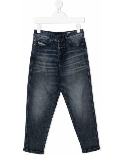 Кожаные зауженные джинсы-скинни с накладными карманами Diesel Kids