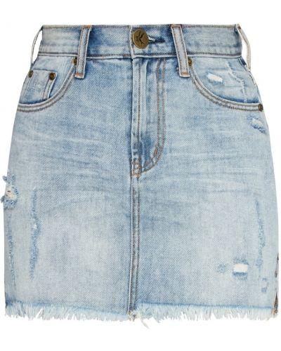 Хлопковая синяя юбка мини с разрезом One Teaspoon