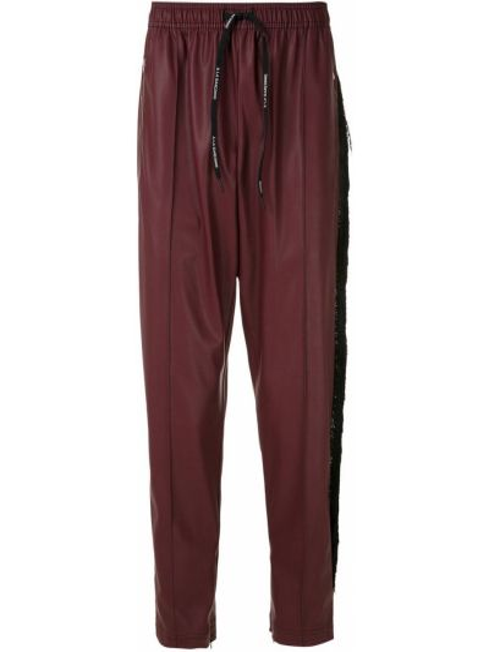 Красные прямые прямые брюки с бахромой à La Garçonne