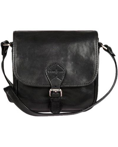 Кожаная сумка с клапаном черная Gianni Conti