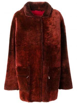 Красная шуба из овчины с карманами Liska