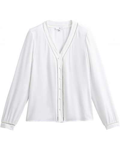 С рукавами белая блузка с вырезом Laredoute