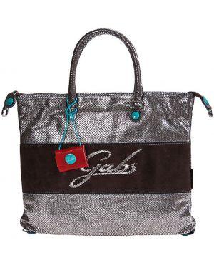 Кожаная сумка - серебряная Gabs