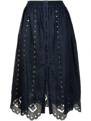 С завышенной талией синяя юбка миди с вышивкой Vita Kin