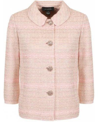 Розовый прямой пиджак твидовый на пуговицах St. John