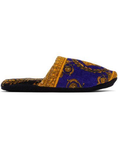 Złote czarne kapcie Versace