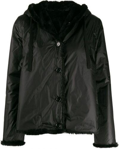 Куртка с капюшоном черная длинная Aspesi